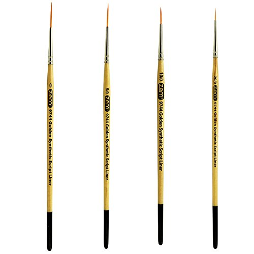 ZEM Brush Student Golden Synthetic Long Script Liners Brushes Sizes 20/0, 10/0, 5/0, 0