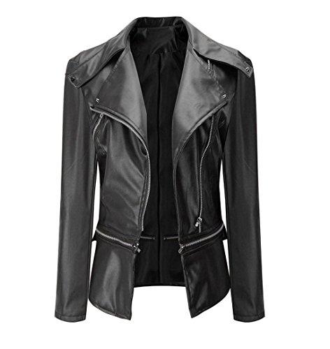 ZEZKT Damen Jacke PU-Leder Mantel-Lederjacke Cool Dünn Bomberjacke Kurz Blazer Steppmantel Biker Jacke Outwear (L, Schwarz)