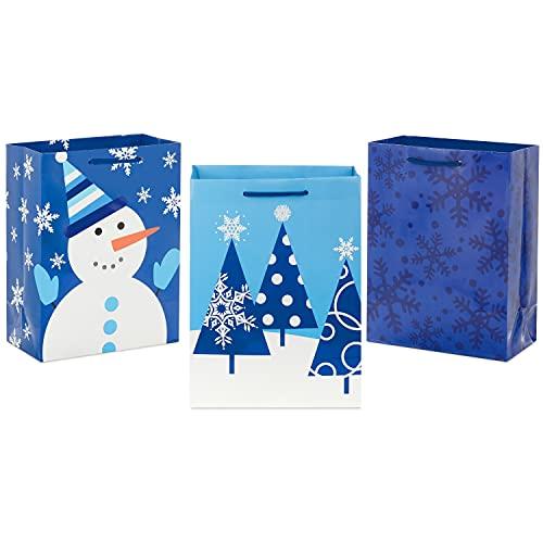 Hallmark 9' Medium Holiday Gift Bags, Blue (Pack of 3: Snowman, Snowflakes, Trees) for Christmas, Hanukkah, Birthdays and More