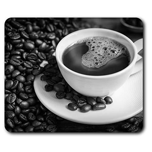 Rechteckiges Mauspad BW – Kaffeetasse & Bohnen Cafe Shop 23,5 x 19,6 cm (9,3 x 7,7 Zoll) für Computer & Laptop, Büro, Geschenk, rutschfeste Unterseite #42710