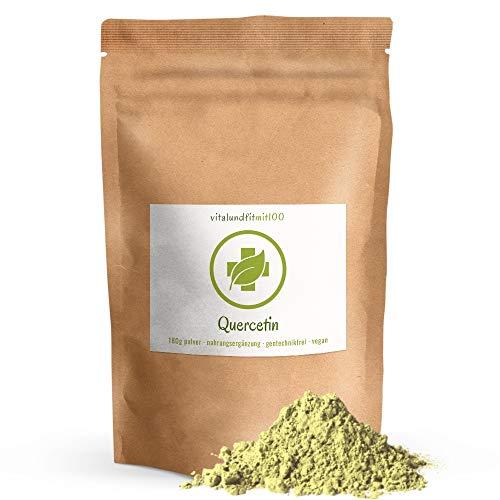 Quercetin Pulver - 180 g - Antioxidans - aus den Blüten des japanischen Schnurbaumes gewonnen - schonende Zubereitung - gentechnikfrei – 100% vegan, glutenfrei - OHNE Hilfs- u. Zusatzstoffe