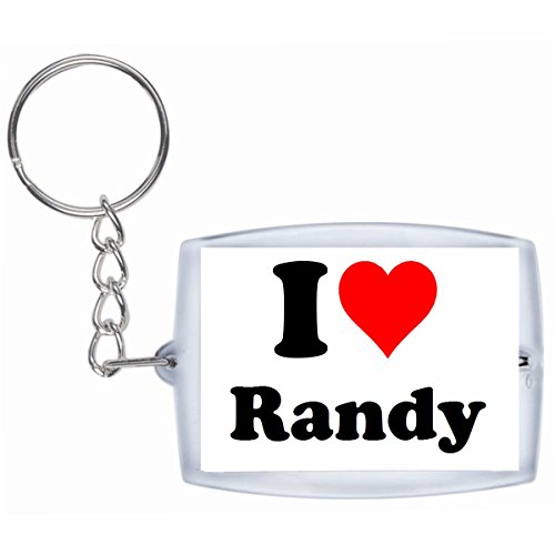 Druckerlebnis24 Schlüsselanhänger I Love Randy in Weiss - Exclusiver Geschenktipp zu Weihnachten Jahrestag Geburtstag Lieblingsmensch