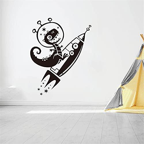 Kjlfow Gran Dinosaurio Cohete Cielo Estrellado Pegatinas de Pared habitación de los niños Dormitorio de Dibujos Animados Dinosaurio Cohete Espacio Tatuajes de Pared Sala de Estar Arte 56x72cm