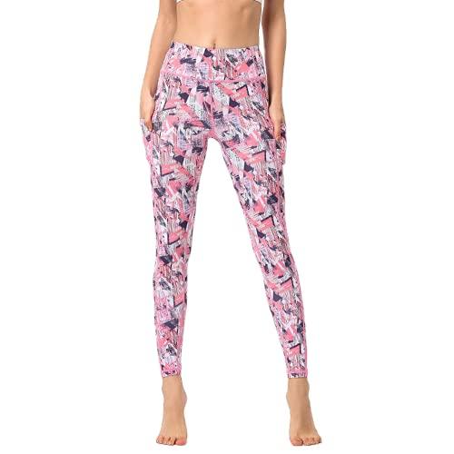 QTJY Pantalones de Yoga de Viento de Tinta para Mujer, Cintura Alta, Levantamiento de Cadera, Deportes, Fitness, Yoga, Pantalones, Pantalones Deportivos para Correr al Aire Libre, F S