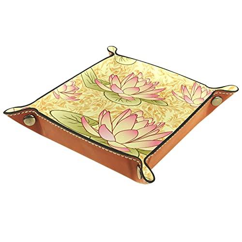 Bandeja de almacenamiento de cuero,bandeja de bolsillo,bandeja de valet,contenedor de bandeja de joyería,Lotus Flowers Art ,plato