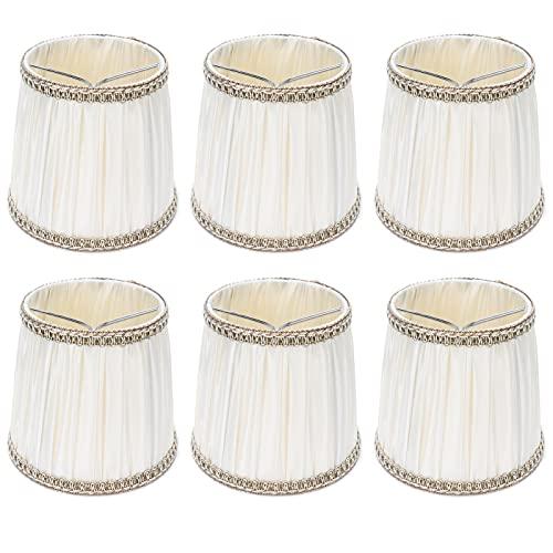 Hyuduo 6 Pantallas de lámpara, Pantallas de Tambor, Pantalla de lámpara con Enganche de Clip para lámpara de candelabro de Bombilla E14 (Beige)