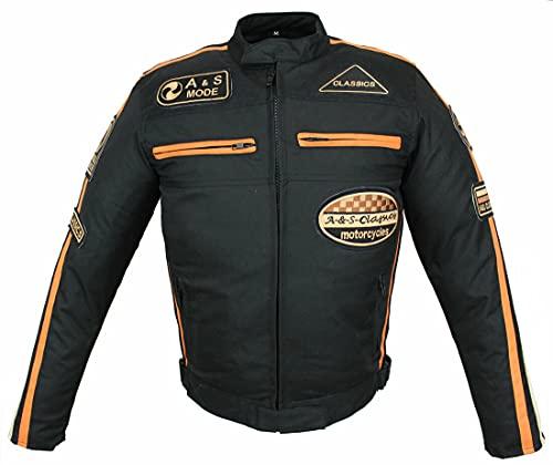 Giacca da moto da uomo in tessuto con protezioni, impermeabile, antivento, Biker Custom, Touring, Quad, Sport e tempo libero, taglie dalla S alla 5XL nero/arancione L