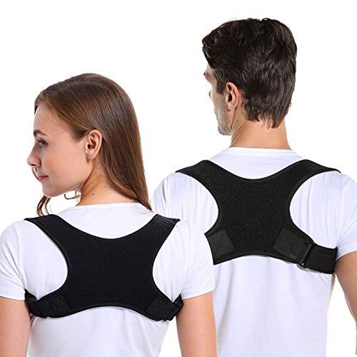 Correttore Postura, Spalle Schiena Supporto per Uomo e Donna, Regolabile e Traspirante Indietro a Fascia Postura Correzione Cintura Che Fornisce Sollievo dal Dolore per il Collo (Nero)