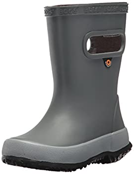 Bogs Kids  Skipper Waterproof Rubber Rain Boot for Boys and Girls,Solid Gray,4 M US Toddler