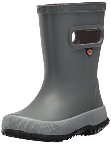 BOGS unisex child Skipper Waterproof Rubber for Boys and Girls Rain Boot, Solid Gray, 10 Toddler US