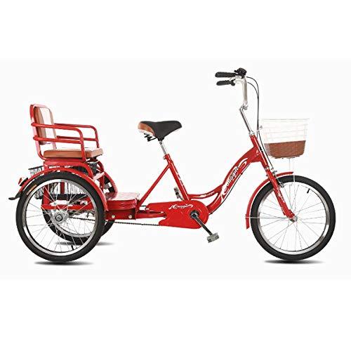 ZFF 20 Pulgadas Triciclo De Tres Ruedas para Adultos Bicicleta De Tres Ruedas con Asiento Trasero Esportón por Compras Picnics Ejercicio Hombres Mujeres (Color : Red)