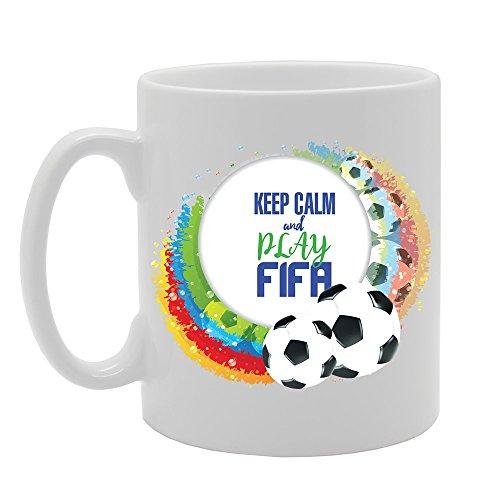 MG3863 Geeky - Blijf kalm en spelen FIFA Novelty Gift Bedrukte Thee Koffie Keramische Mok
