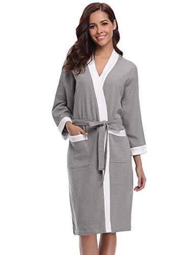 Abollria Bata para Mujer Algodón con Escote en V Albornoz de Kimono de Mujer Ropa de Dormir con Cinturón