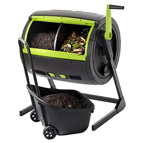 Trommelkomposter mit großem Fassungsvermögen, 245 Liter + Kompost-Sammelwagen ● vereinfacht und beschleunigt die Kompostierung ● Anti-Nagetiere.