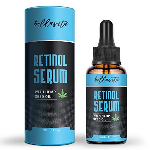 Bellavita New Hanföl Serum, 5% Retinol, Anti-Aging, intensive Flüssigkeitszufuhr + Feuchtigkeit, nicht fettend, pralle Haut, reduziert Falten, Restore & Boost Collagen, 2020 neue Version (30ml /1floz)