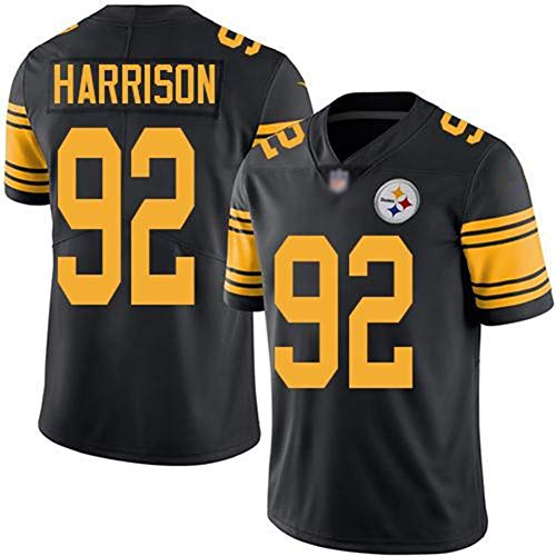 JUNBABY Rugby-Trikot, Pittsburgh Steelers 92# James Harrison, Fußballtrikot-Yellow-L