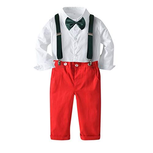 Allence Baby Jungen Bekleidungset Festliche Taufanzug Hochzeitanzug Gentleman Baumwolle Jumpsuit Langarm Hemd Fliege Hosenträger Hose