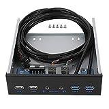 Hub del Pannello Frontale USB 3.0, Scheda di Espansione Audio Pannello Frontale da 5,25 Pollici con Unità Ottica con Key-A, Supporto 6 Porte 2 USB 3.0, 2 USB 2.0, 1 HD Audio Porta/1 Microfono Porta