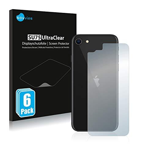 Savvies 6X Schutzfolie kompatibel mit Apple iPhone SE 2 2020 (Rückseite) Bildschirmschutz-Folie Ultra-transparent