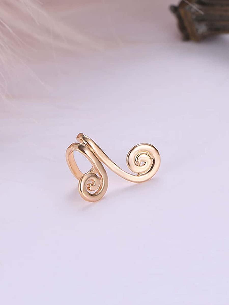 Shower set Hoop Earrings 1pc Spiral Design Ear Cuff (Color : Gold)
