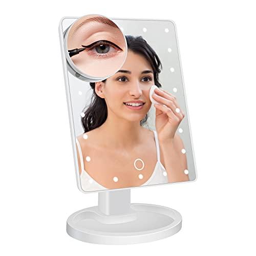 Kosmetikspiegel,95Street Schminkspiegel mit Beleuchtung,22 LED Licht 180° Drehbar mit 10-facher Vergrößerung Touchscreen und Einstellbarer Helligkeit Makeup Spiegel-Weiß
