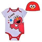 Sesame Street Baby's Short Sleeve Onesie with Cap, Elmo Bodysuit, Play or Nap Romper Set, Size 3M