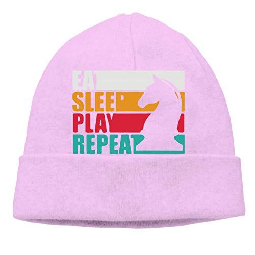 XCNGG Gorro de Punto Gorro de Lana Unisex Eat Sleep Chess Repeat Knitted Hat, Cotton Skull Cap
