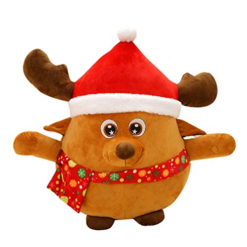SOIMISS Christmas Stuffed Toy LED Musical Plush Reindeer Doll Light Up Soft Plush Toy Singing Christmas Figurines Holiday Night Lights For Kids Present Christmas Bag Fillers 22cm