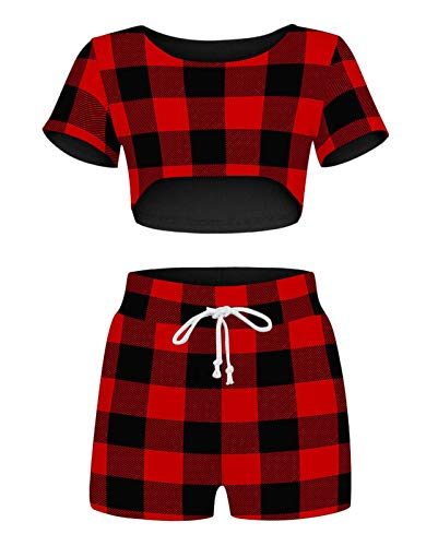 Sexy Two Piece Outfits for Women, Scoop Neck Printed Bodycon Short Sleeve Crop Top and Drawstring Short Pants Pajamas Set (red black plaid, M)