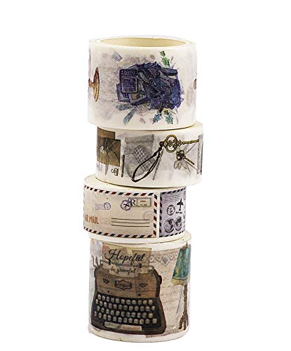 Navy Peony Vintage Travel Washi Tape Set   Retro Holiday Themed Japanese Decorative Tapes   Cute Art Scrapbook Sticker Tape for Crafts, Planners and Journals   Wide Washi Tape Rolls for Kids