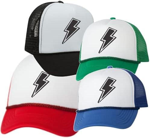 Lightning Bolt Embroidered Patch Trend Trucker hat Cap Baseball Gift Vintage Foam Mesh