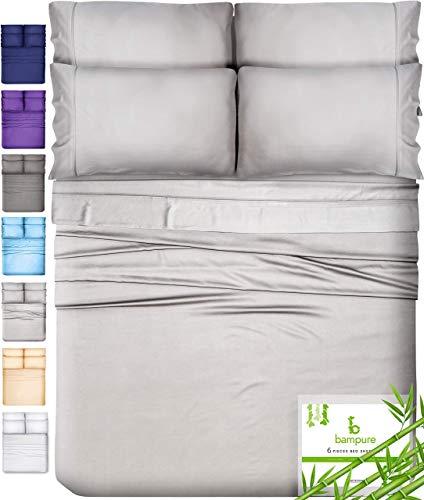 6 Piece Bamboo Sheets Queen Bamboo Sheets - 100% Organic Bamboo Bed Sheets Queen Sheet Set Cooling Sheets Queen Size Sheets Deep Pocket Queen Sheets Queen Bed Sheets Queen Size Cool Sheets Light Gray