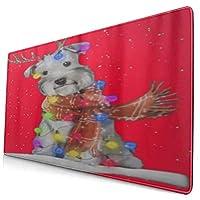 KIMDFACE 大型 マウスパッド シュナウザークリスマスアートドッグ 個性的 おしゃれ 柔軟 かわいい ゲーミングマウスパッド PC ノートパソコン オフィス用 デスクマット 滑り止め 特大 マウスマット