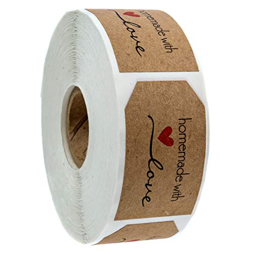 """1.15""""x2"""" Inch Natural Kraft Homemade with Love Gift Tag Sticker / 500 Labels per roll"""