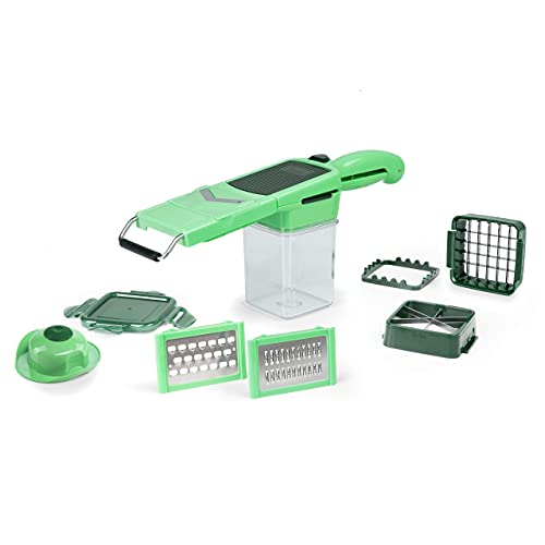 Genius Nicer Dicer Quick Professional Set 12 piezas – picadora con 6 cuchillas intercambiables y recipiente colector de 320 ml en formato manual | incluye marco