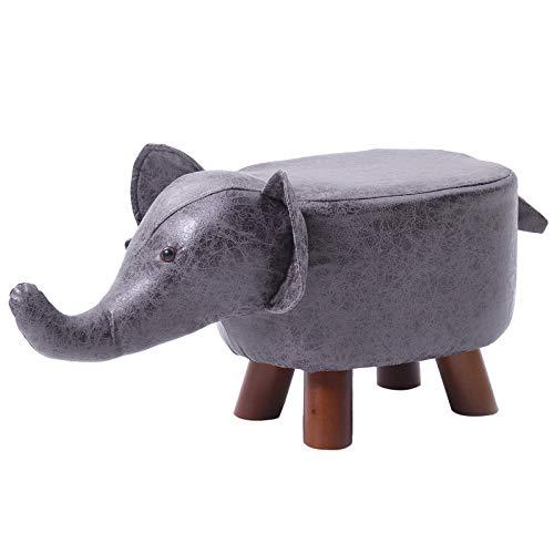 IBUYKE Kinder Hocker Kinderzimmer Möbel, Kinderhocker gepolstert Tierhocker, Nette Tierformen kreative Schuhbank, Die Hockerbeine sind aus Massivholz, Dunkelgrau Elefanten RF-BD158