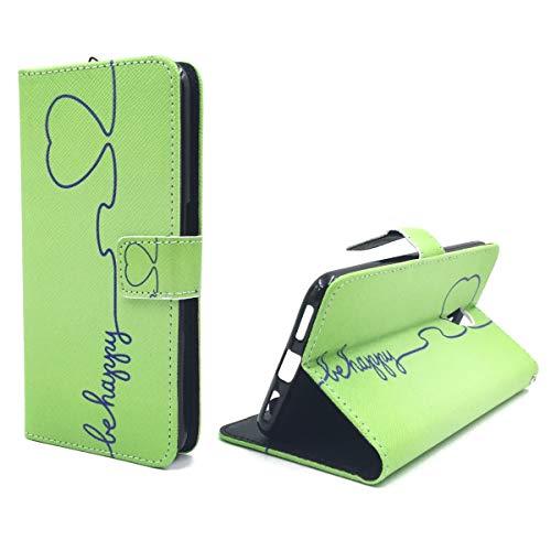 König Design Handyhülle Kompatibel mit ZTE Blade V7 Handytasche Schutzhülle Tasche Flip Hülle mit Kreditkartenfächern - Be Happy Design Grün