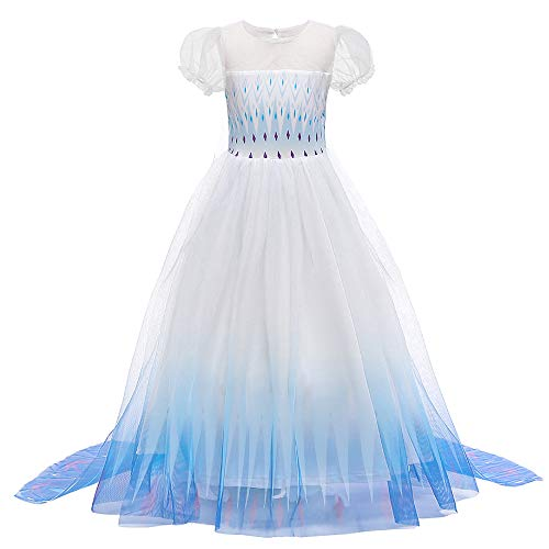O.AMBW Vestido con Capa Fija Manga Larga Falda Multicapa Color Azul Violeta Degradacin Disfraz Frozen Cosplay Princesa para Carnaval Disfraces Fiesta de Halloween para Nias de 2 a 9 aos