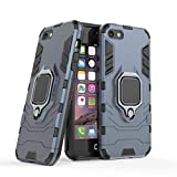 LuluMain Compatible con Apple iPhone 5, iPhone 5S, iPhone SE Funda, Anillo Metálico Sujeción Soporte Antichoque Caja (Funciona con el Montaje de Coche Magnético) Doble Capa Case Carcasa (Azul Marino)