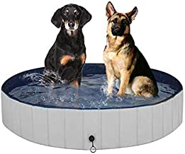 Juegoal Foldable Baby Dog Pet Bath Swimming Pool, Hard Plastic Kiddie Collapsible Dog Pet Pool Bathing Tub, Portable Pet Bath Tub Pool for Indoor & Outdoor Kids Pets Dogs Cats, 48