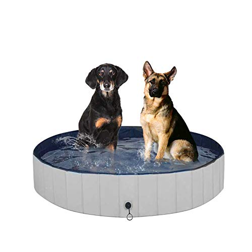 Juegoal Foldable Baby Dog Pet Bath Swimming Pool, Hard Plastic Kiddie Collapsible Dog Pet Pool Bathing Tub, Portable Pet Bath Tub Pool for Indoor & Outdoor Kids Pets Dogs Cats, 48' x 12'
