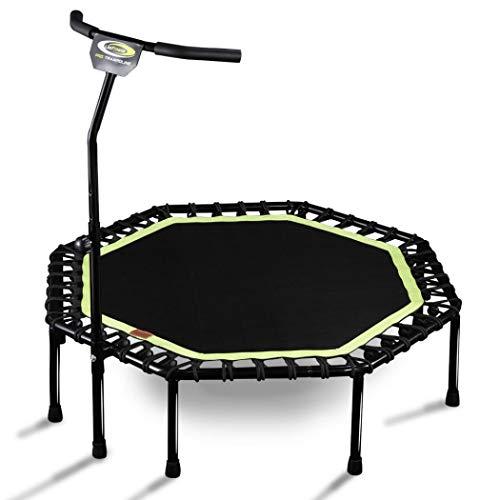 kiss me Mini trampolín con asa, plegable para adultos, niños, pequeños trampolines silenciosos para interiores y exteriores, yoga, entrenamiento, fitness, cardio, color verde