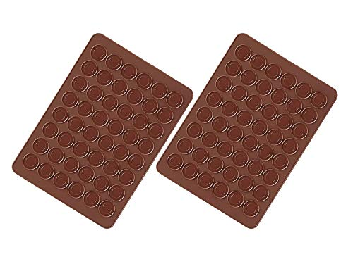 Voarge 2 Stück Macarons Backmatte aus Silikon 48 Mulden antihaftbeschichtet, Macarons Backmatte aus Silikon 38 * 28cm
