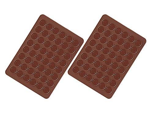 Faneli Lot de 2 Tapis de Cuisson Macarons en Silicone 48 Cavités Antiadhésives Tapis de Cuisson Macarons en Silicone 38 x 28 cm