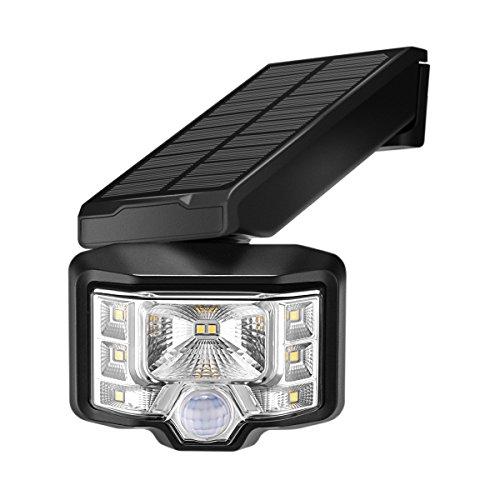 Luci Solari da Esterno 8 LED, Sunix lampada solare sensore movimento, luce di sicurezza wireless ad alimentazione solare impermeabile IP65 per Muro, Giardino, Terrazzino, Cortile, Casa