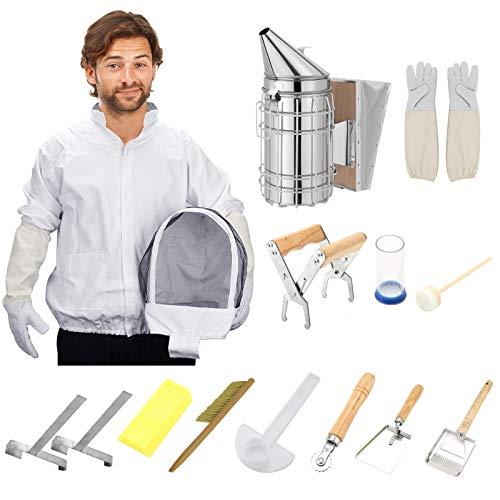 Kacsoo Suministros de apicultura, kit de herramientas de apicultura, kit de principiante de apicultor, chaqueta de traje con velo y sombrero, kit de colmena, kit de ahumador de abeja