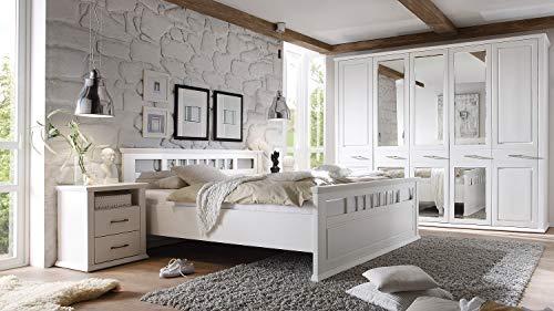 Möbel Akut Schlafzimmer Set Landhaus Emma Schrank Doppelbett Nachtkommoden Kiefer weiß