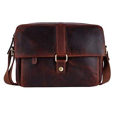 PICCO MASSIMO Genuine Leather Men/Women Sling Bag | 3 Zipped Pockets | 2 Open Pocket Sleeves | Zip & Snap Closure | Adjustable Cotton Shoulder Stap