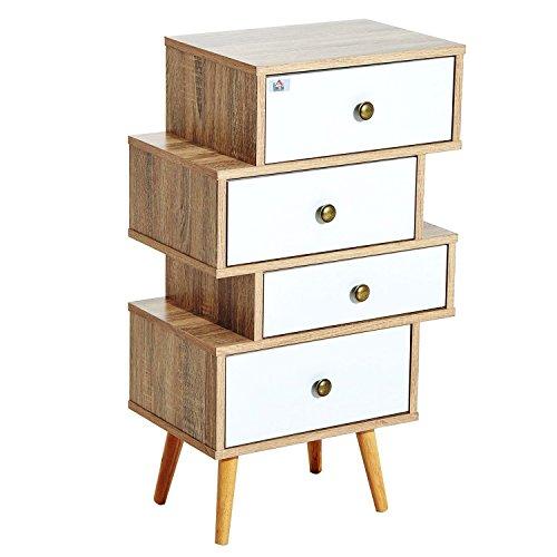HOMCOM Meuble Commode chiffonnier Style scandinave 4 tiroirs coulissants 47 x 30 x 81 cm Coloris Blanc Bois de chêne