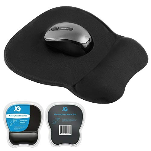 Ergonomic Mouse Pad with Wrist Rest Support, Black | Eliminates All Pains, Carpal Tunnel & Any Other Wrist Discomfort! Non-Slip Base, Stitched Edges! (1)